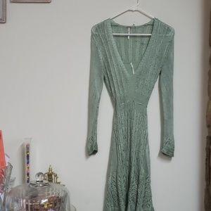 Free People Green Mini Dress